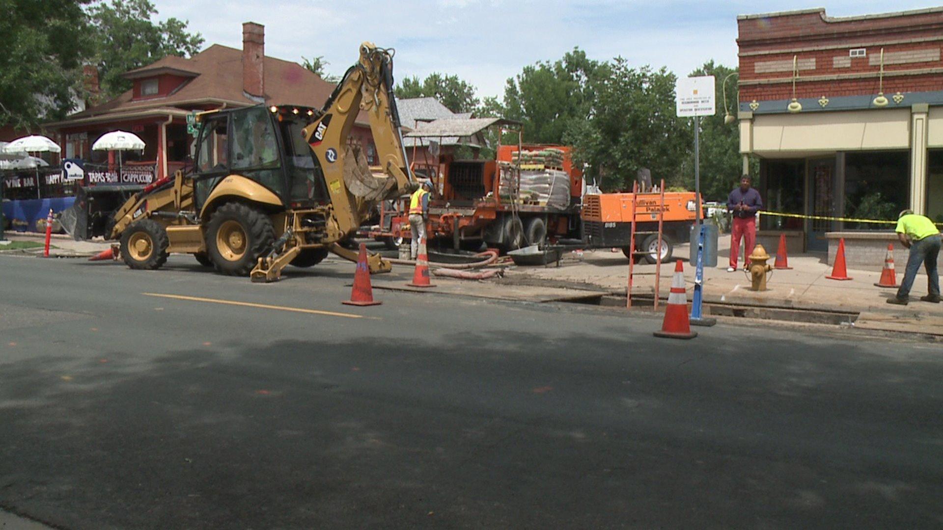 Water pipe work in Denver's West Highlands neighborhood