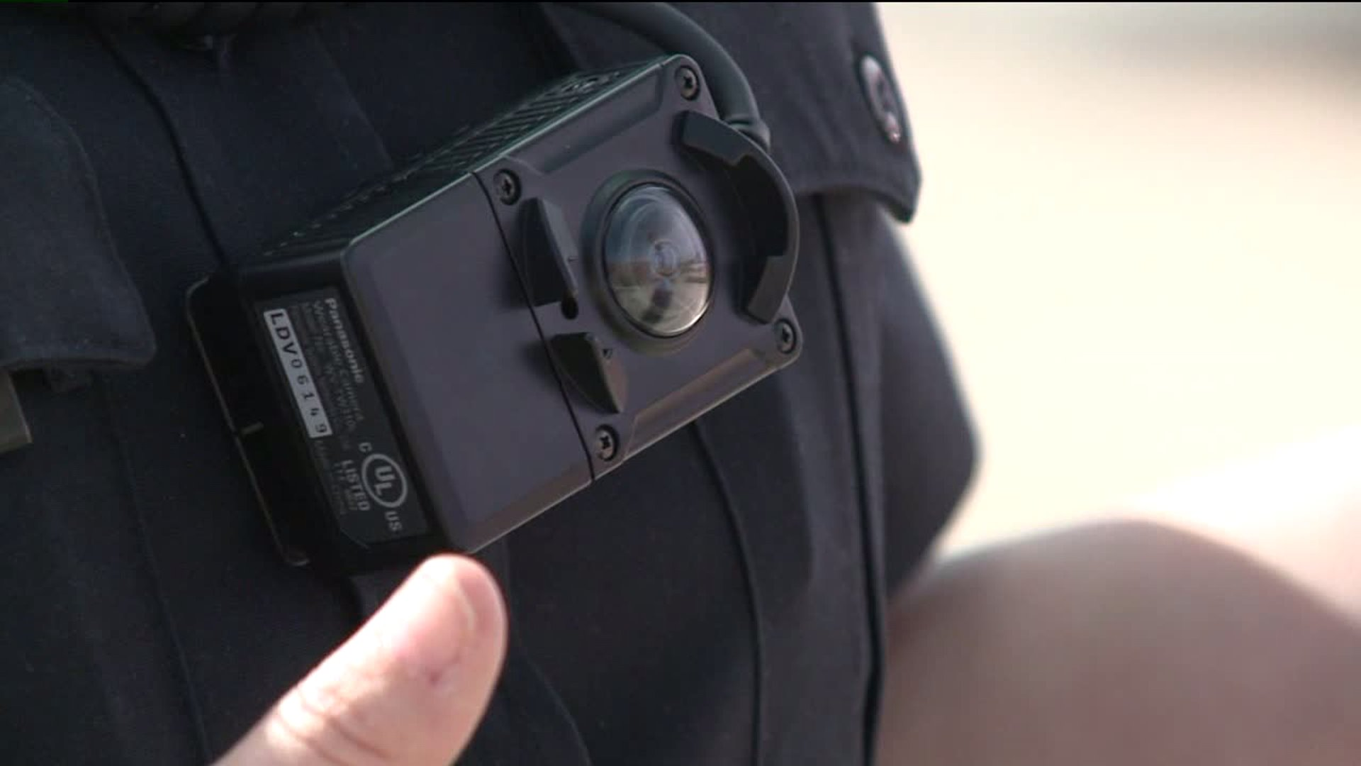 Body camera on police officer in Parker, Colo