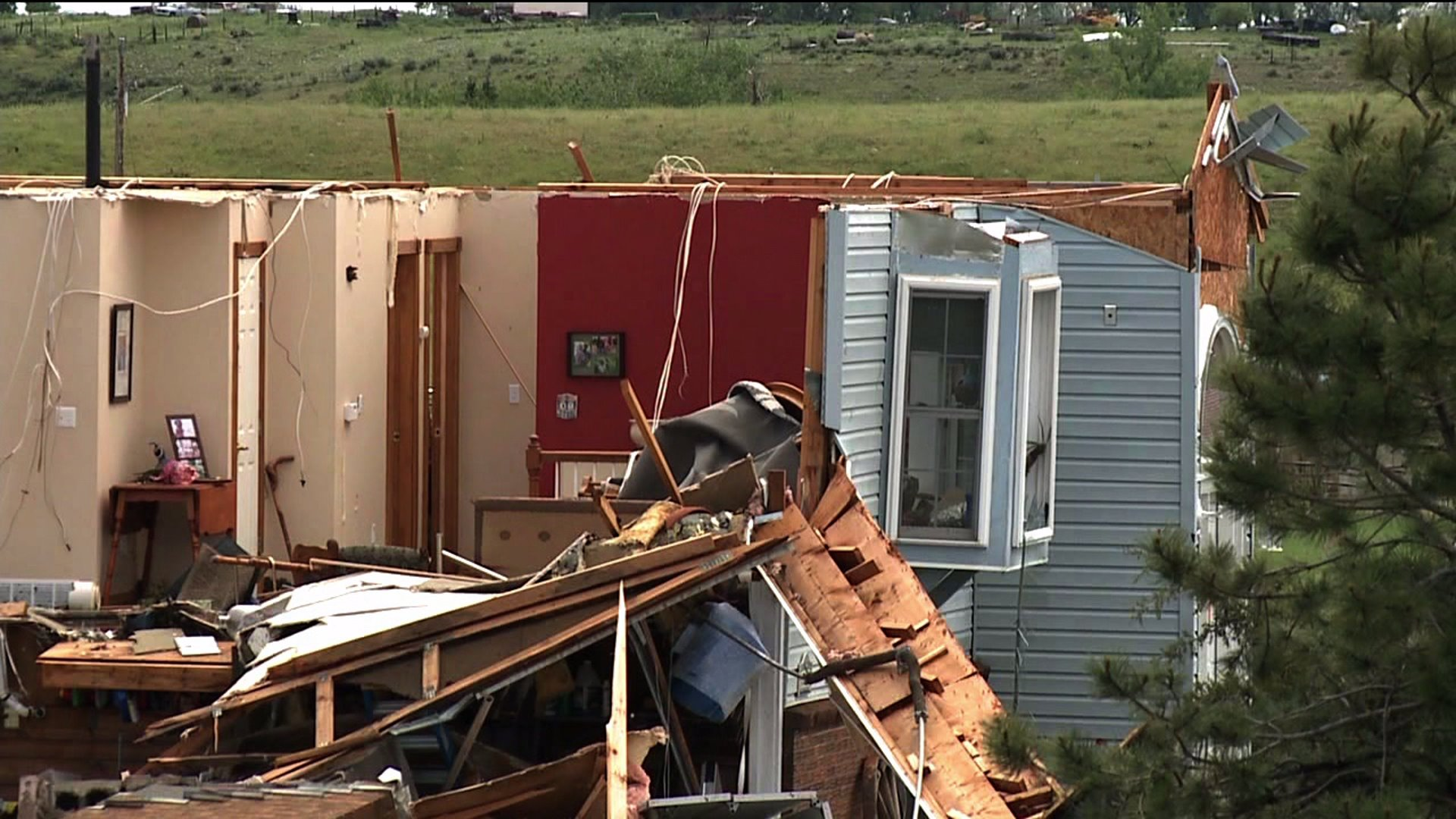 Destruction after tornado in Berthoud