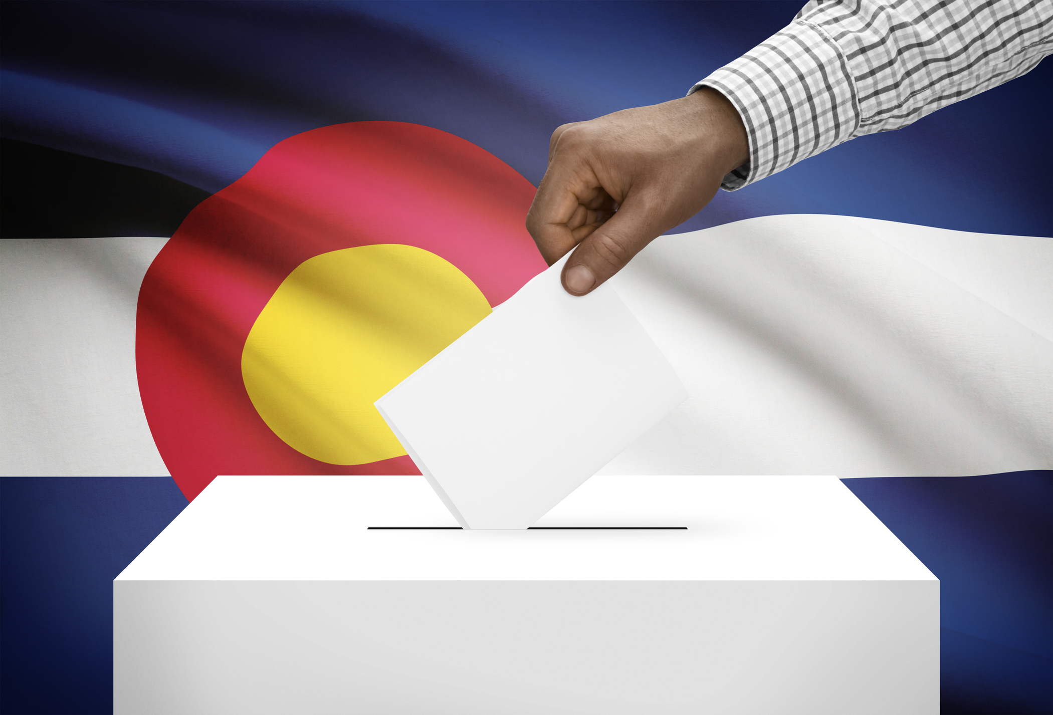 Ballot box with US state flag on background - Colorado
