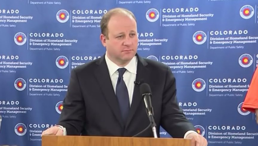 Colorado Gov. Jared Polis holds a COVID-19 news conference on Sun., March 22, 2020.