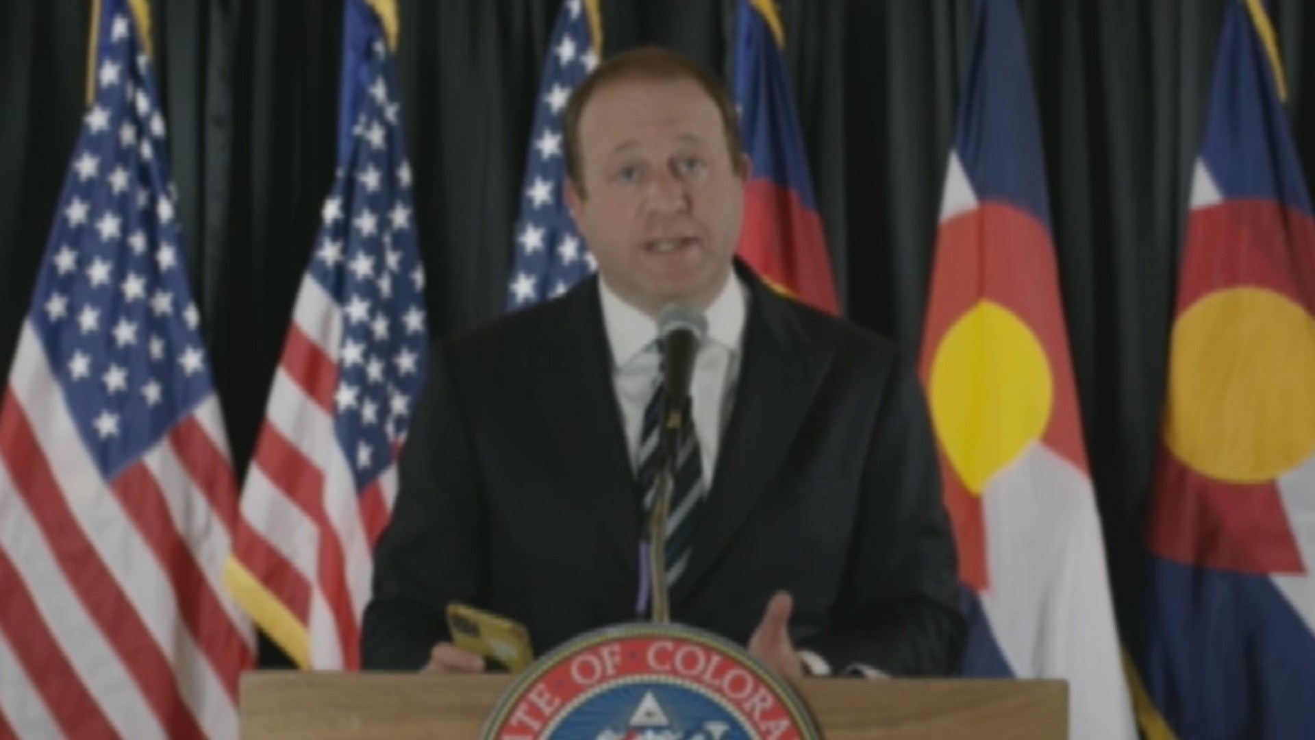 Gov. Jared Polis holds a news conference on COVID-19 in Colorado, on April 29, 2020.