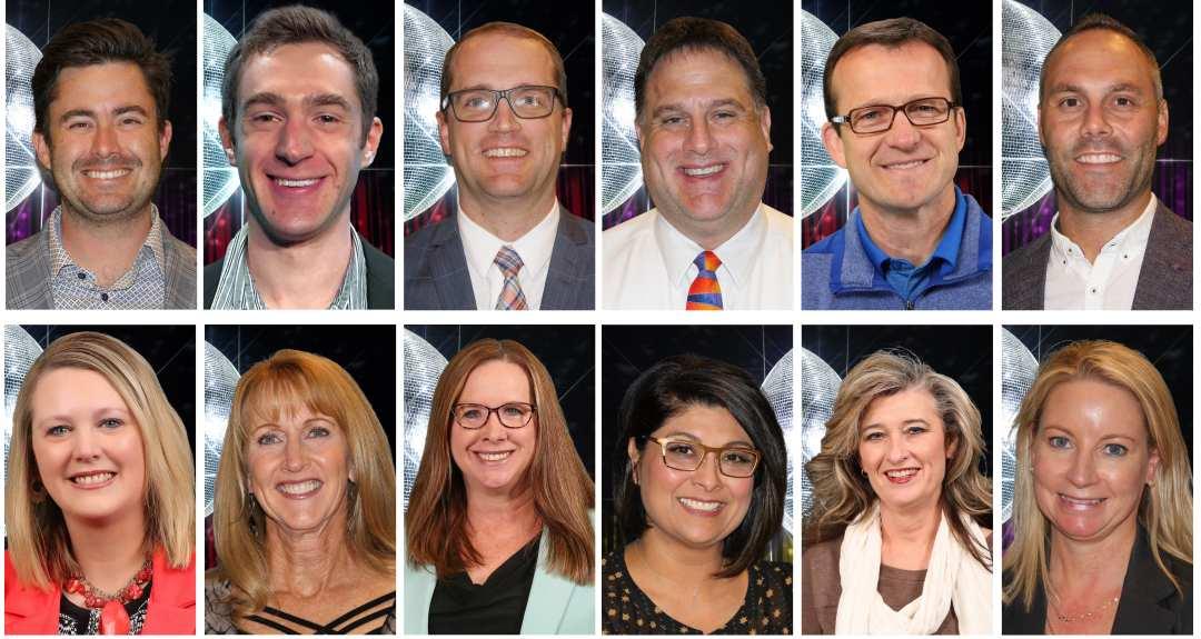 Top row, left-right: Alex Schwarz, Nate Brown, Alex Straatmann, Mark Stute, Marc Bauer & Brian Cochran. Bottom row, left-right: Renae Zimmer, Cheryl Webber, Wendy Kreis, Leslie Martin, Nita Unruh & Elizabeth Roetman.