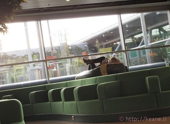 Girl Resting in Amsterdam Airport