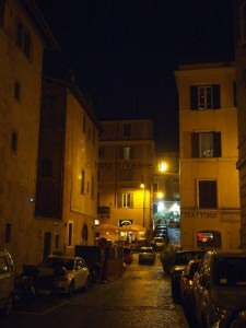 Trastevere Street and Trattoria at Night