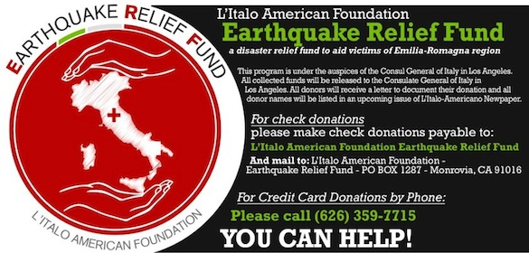 L'Italo Americano Newspaper's Relief Fund for Emilia-Romagna