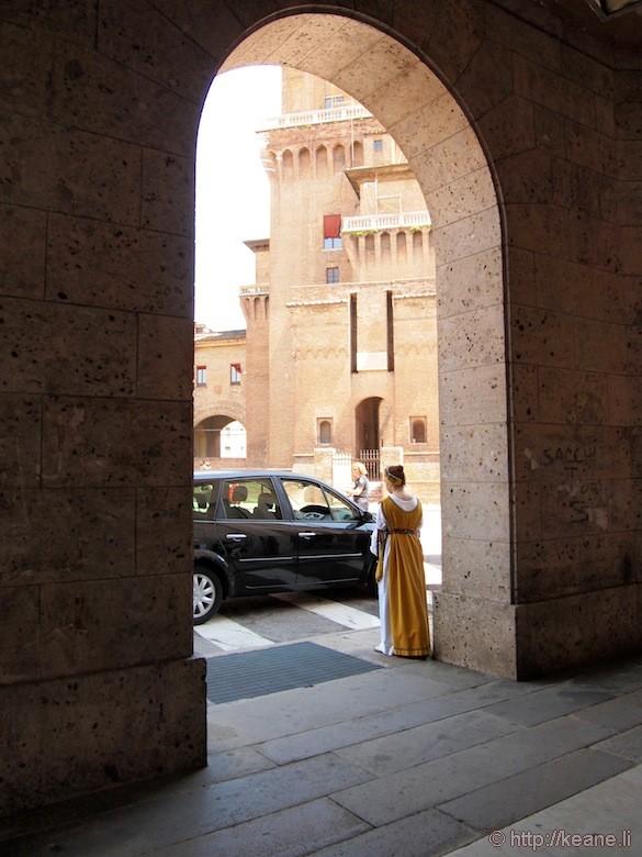 Palio di Ferrara - Girl in Costume in Archway