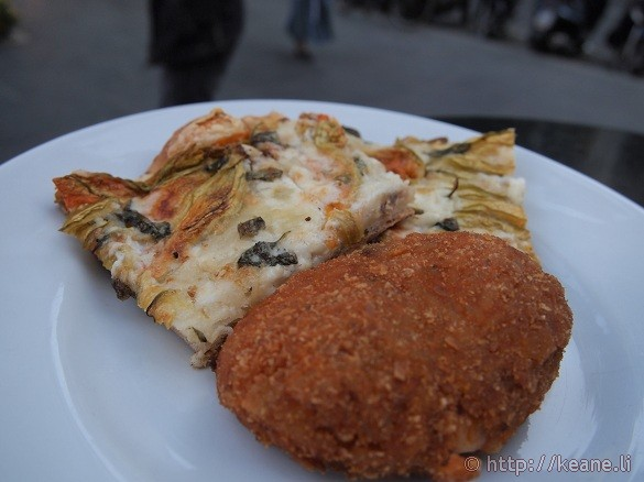 Pizza and Suppli' from Panella in Rome