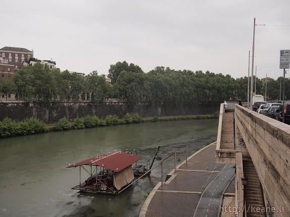 The Tevere River from the Ponte Regina Margherita in the Rain