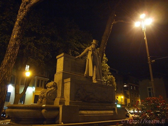 Trastevere Statue at Night