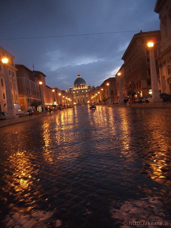 Rome in the Rain - St. Peter's Basilica and the Via della Conciliazione