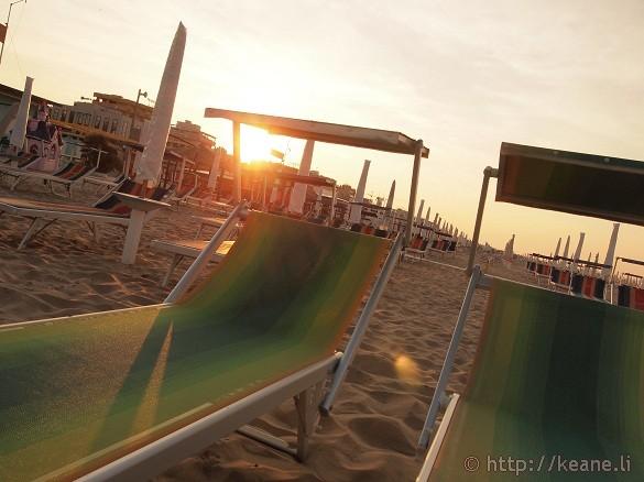Beach chairs along the Rimini beachfront