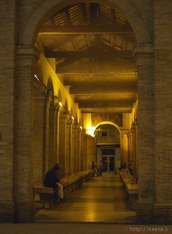 Historic Fish Market by Piazza Cavour in Rimini's Centro Storico at night