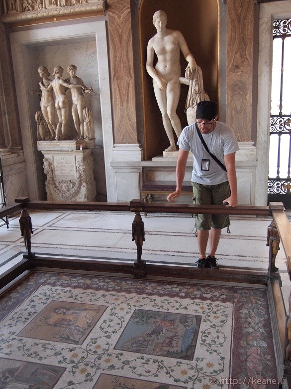 Admiring mosaics in the Vatican Museums