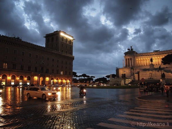 Rome - Piazza Venezia and Il Vittoriano during the rain