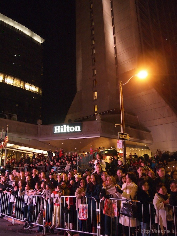 Chinatown Hilton hotel during Chinese New Year parade