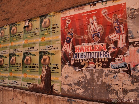 Rome - Street signs and flyers: Harlem Globetrotters Italy Tour 2012