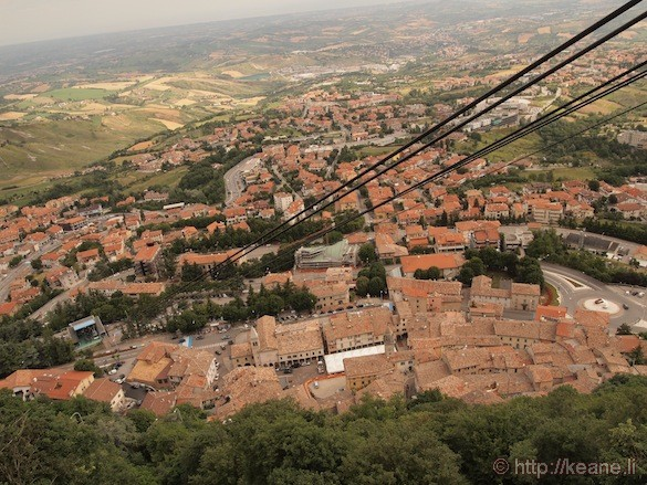 View and Cable Car from the top of San Marino
