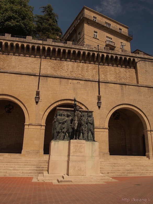 Courtyard and Memorial Statue and Shrine in San Marino