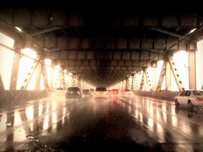 Driving on the Oakland Bay Bridge