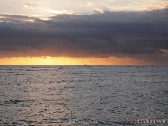 Sunset over Waikiki Beach on Oahu