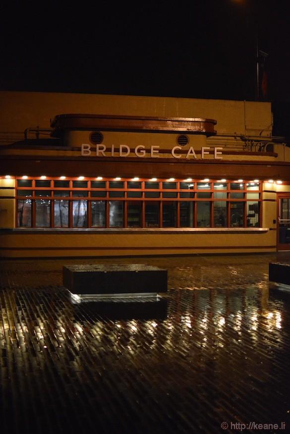 Bridge Cafe at night at Golden Gate Pavilion