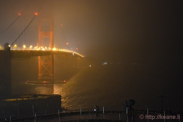 Golden Gate Bridge at night in the rain
