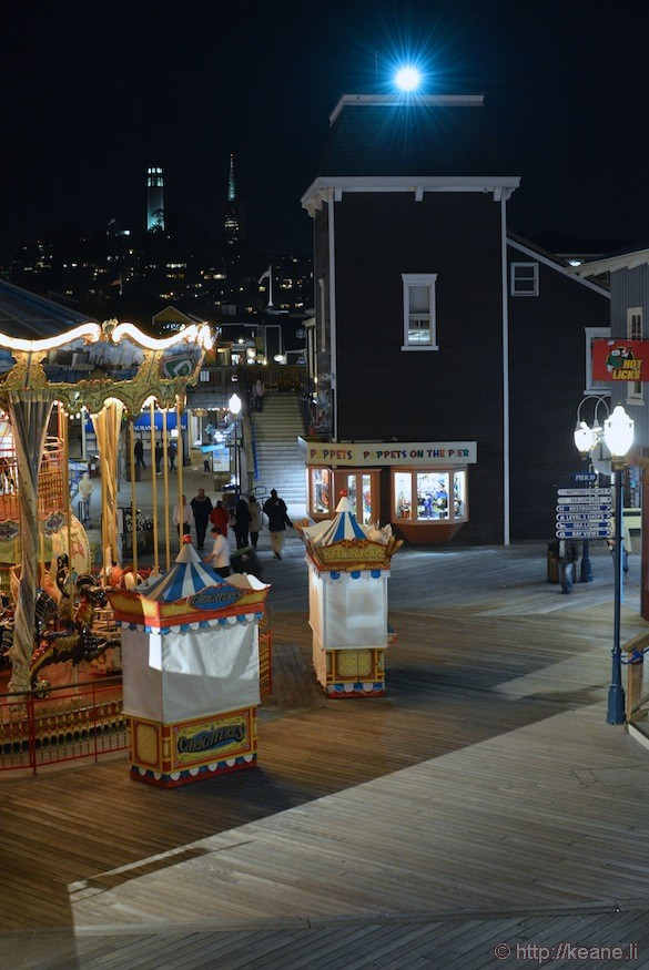 Pier 39 Carousel and Coit Tower at Night