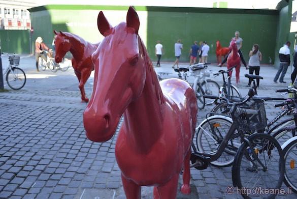 Street Art Red Horses in Downtown Copenhagen