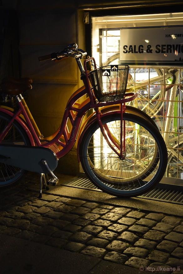 Bike Shop at Night in Copenhagen