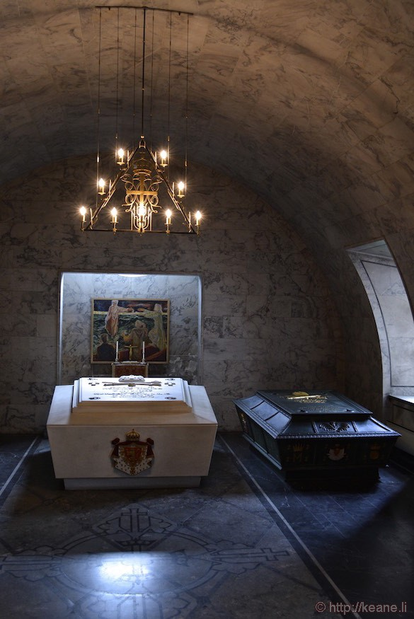 Sarcophagi of King Haakon VII, Queen Maud, King Olav V and Crown Princess Märtha at Akershus Fortress