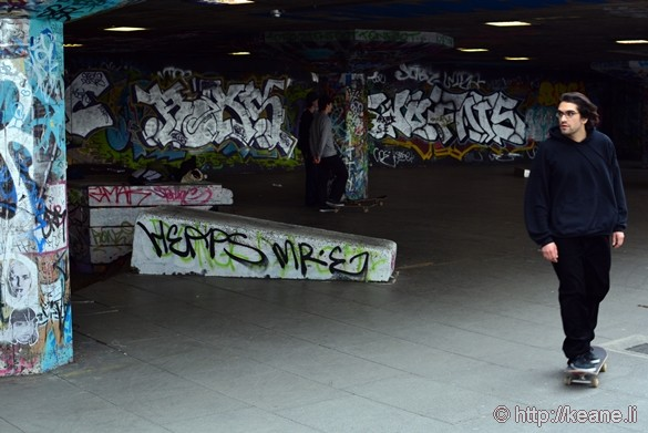 Skateboarder and Street Art Along the Thames