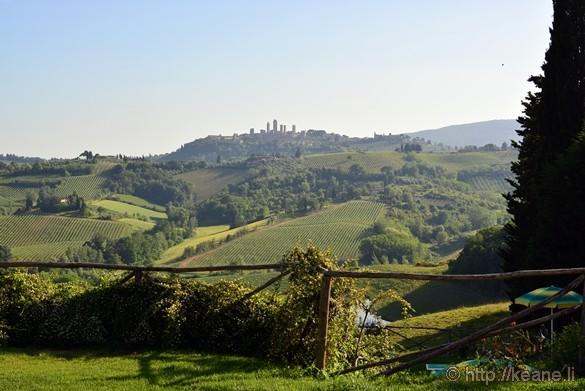 View of San Gimignano from Fattoria Poggio Alloro