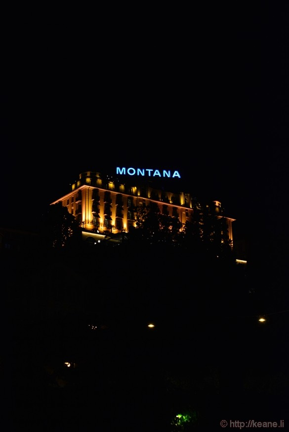 Art Deco Hotel Montana in Lucerne at Night