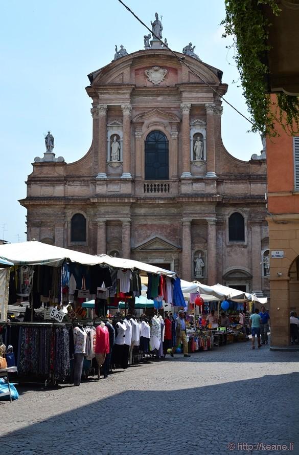 Street Market in Piazza San Prospero in Reggio-Emilia