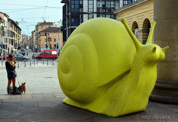 Giant Snail Sculpture at Porta Ticinese in Milan
