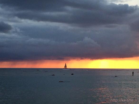 Oahu - Sailboat at Sunset