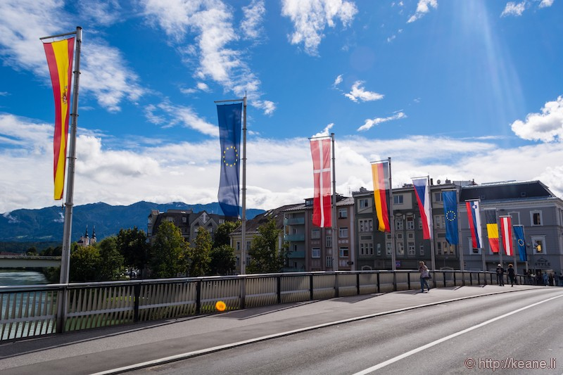 Flags on the Villach Bahnhofstrasse Bridge