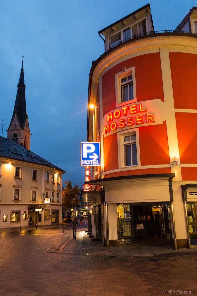 Hotel Mosser at Night in Villach, Austria