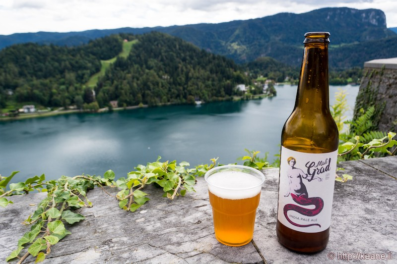 Pivovarna Mali Grad IPA Overlooking Lake Bled from Bled Castle