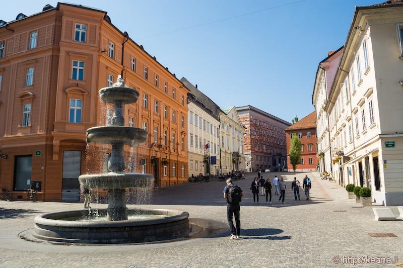 Fountain in Ljubljana Central District