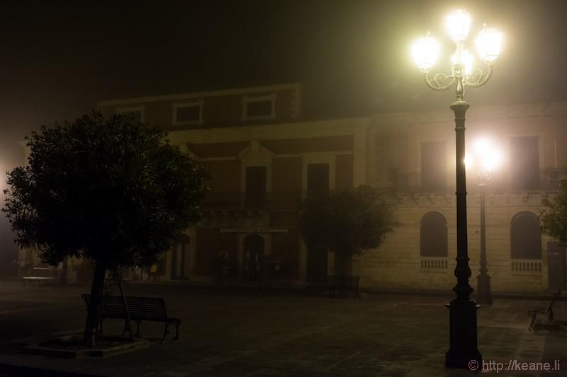 Palazzolo Acreide in the Night Fog