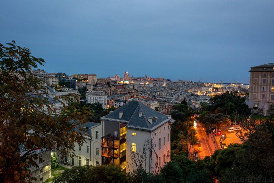 View of Genoa at Night