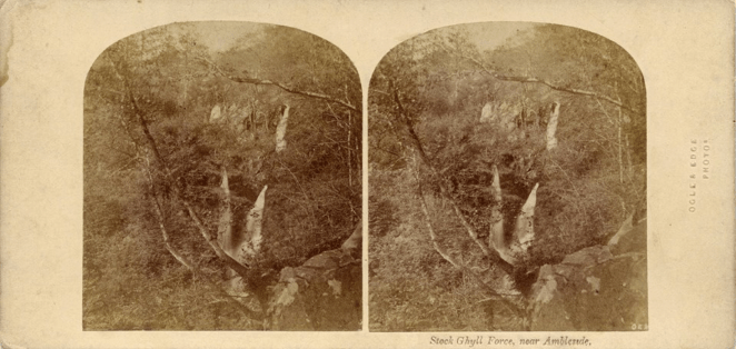 Stereograph by Thomas Ogle and Thomas Edge showing Stock Ghyll Force outside of Ambleside.