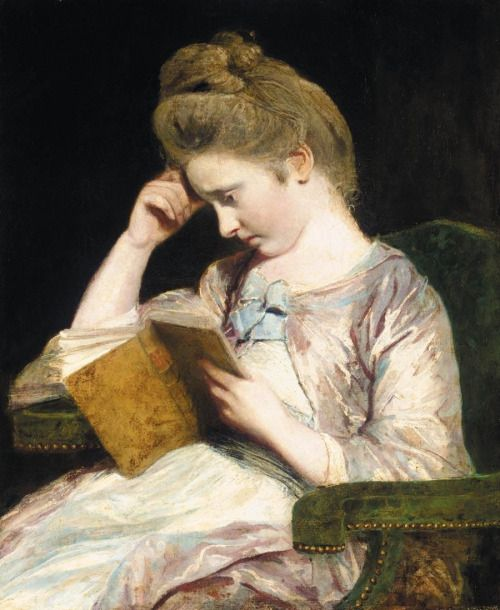 Painting of Theophila Palmer reading Richardson's Clarissa.