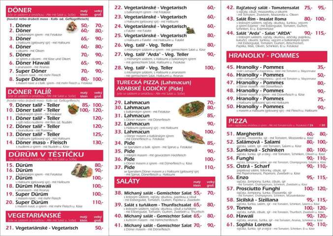 Nabídka - Antalya Kebab (Děčín)