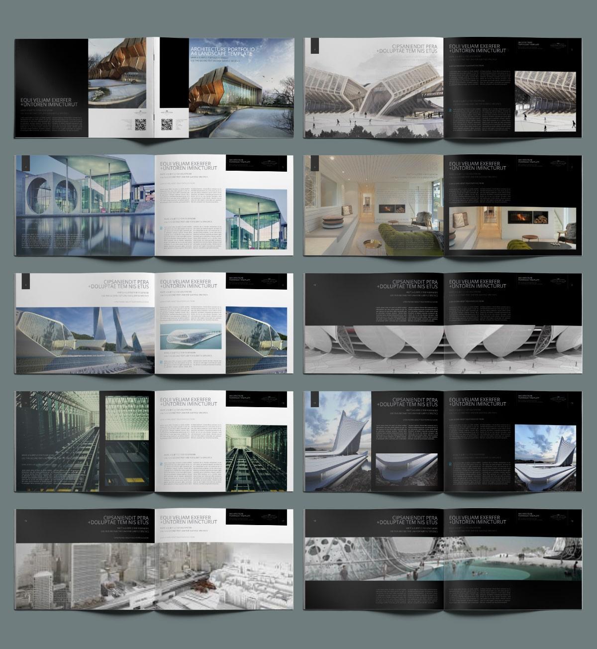 Architecture Portfolio A4 Landscape Template - Layouts