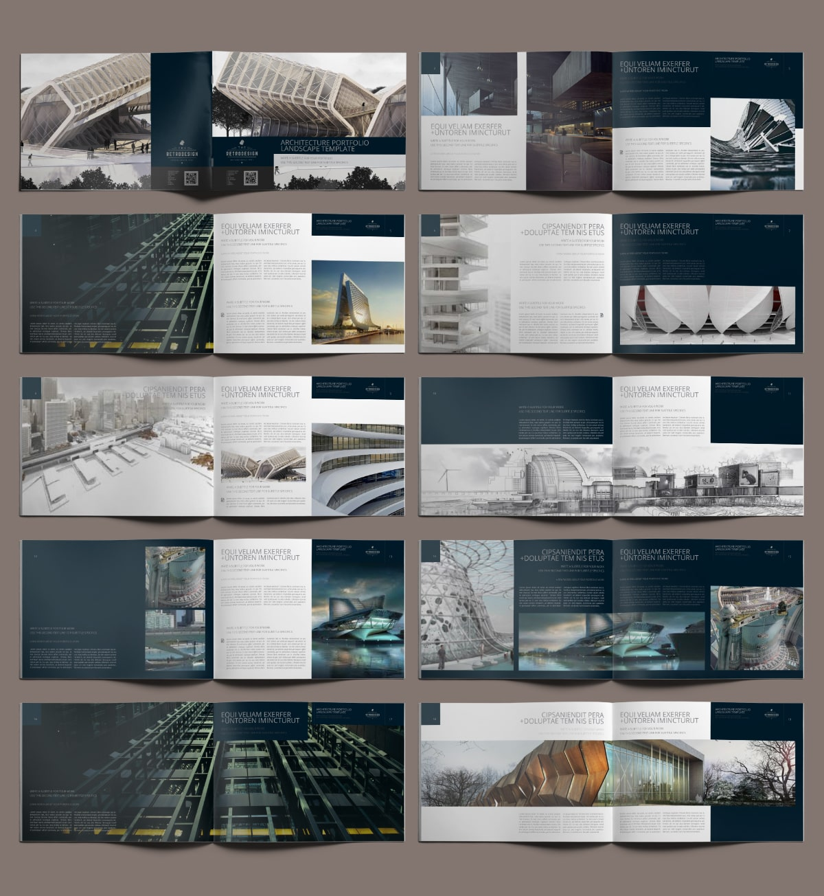 Architecture Portfolio Landscape Template - Layouts