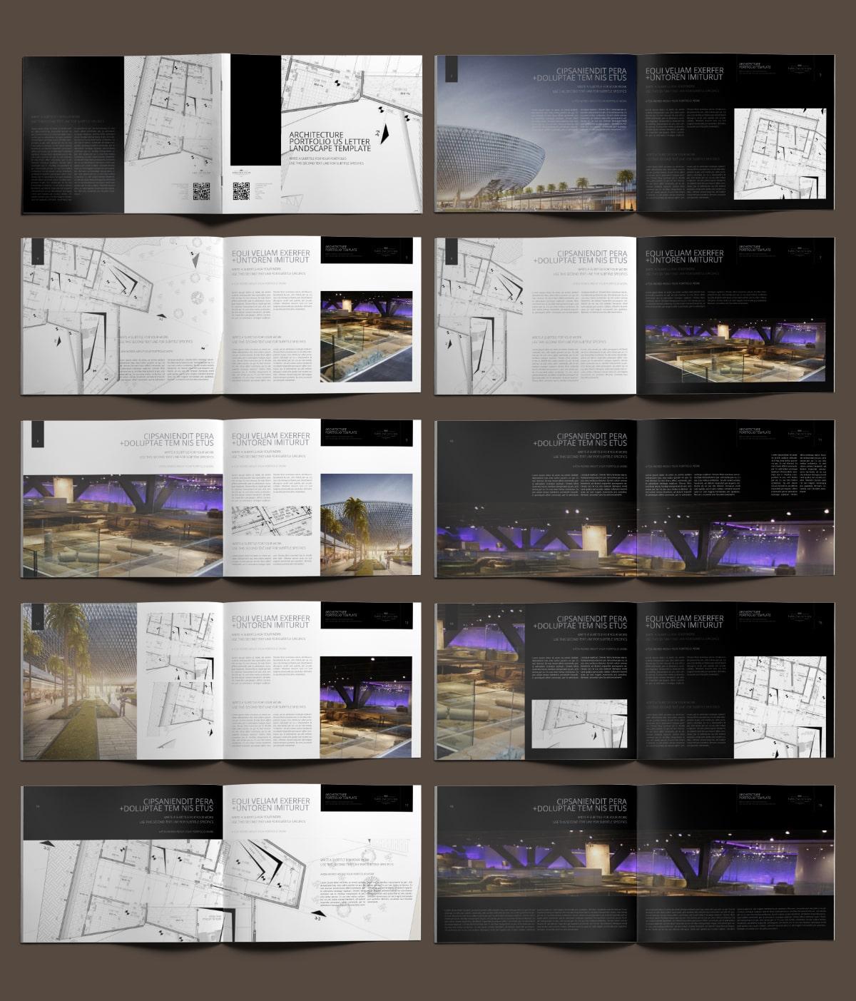 Architecture Portfolio US Letter Landscape Template - Layouts