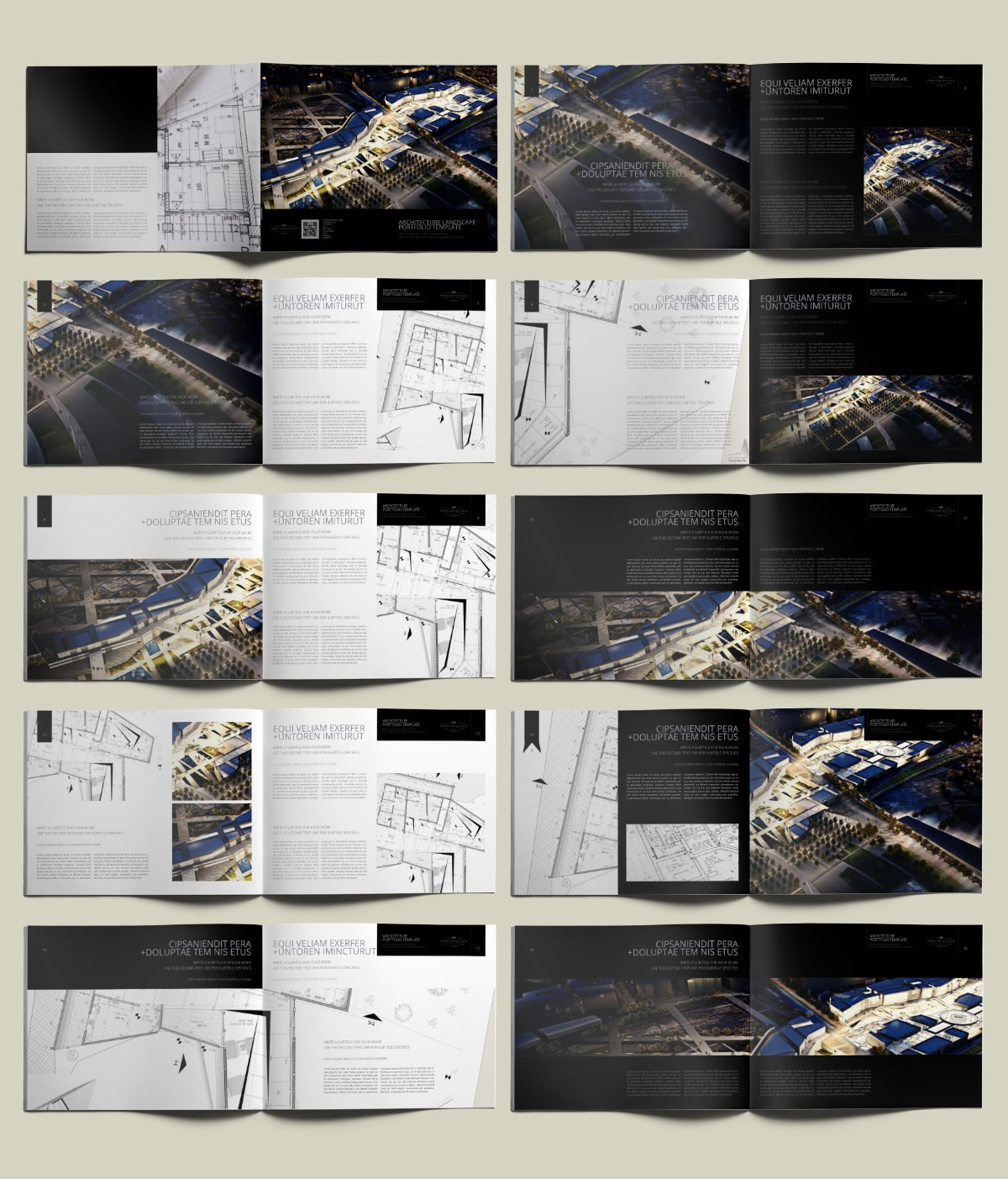 Architecture US Letter Landscape Portfolio - Layouts